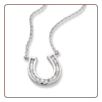 Large Sterling Silver CZ Horseshoe Necklace