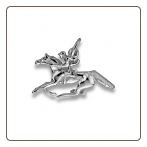 Sterling Silver Horse and Jockey Pendant with Chain