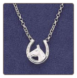 Sterling Silver Horse Head/Shoe Necklace