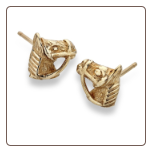 Horse Head Studs 9ct Gold Earrings
