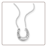 Sterling Silver CZ Horseshoe Necklace