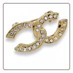 18ct gold plated/ CZ Linked Horseshoe Brooch